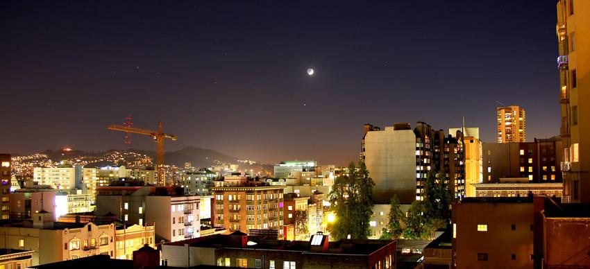 звездное небо в городе