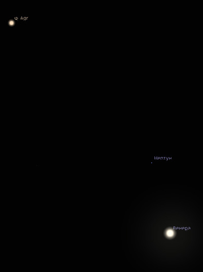 Венера и Нептун в январе 2020 года