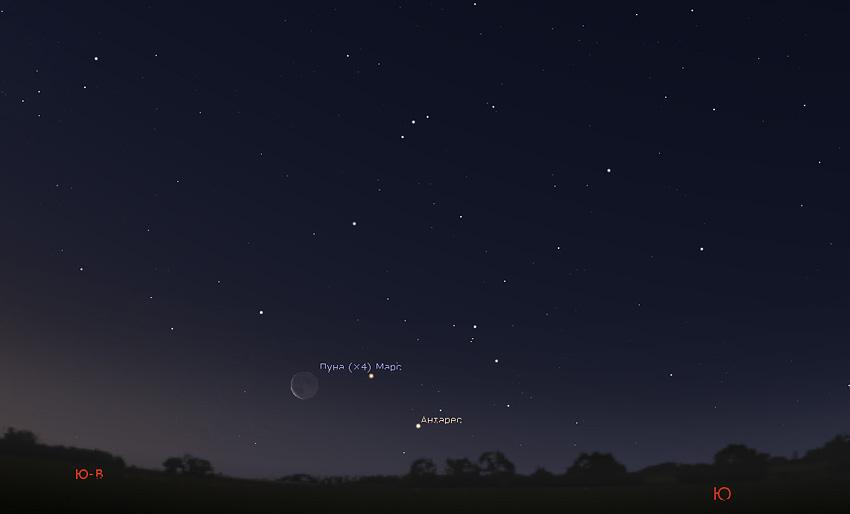 Луна, Антарес и Марс утром 21 января 2020