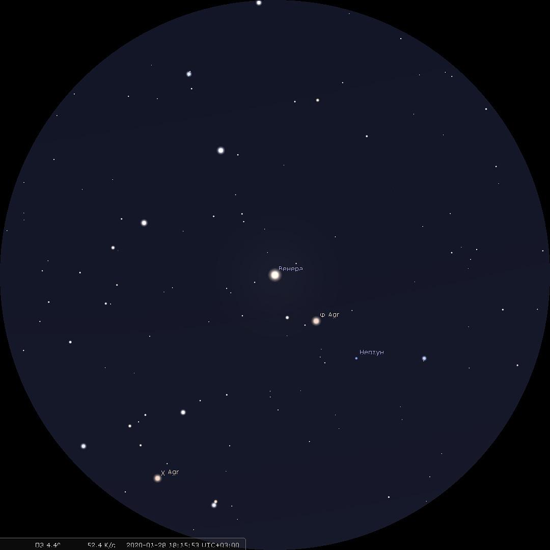 тесное соединение Венеры и Нептуна