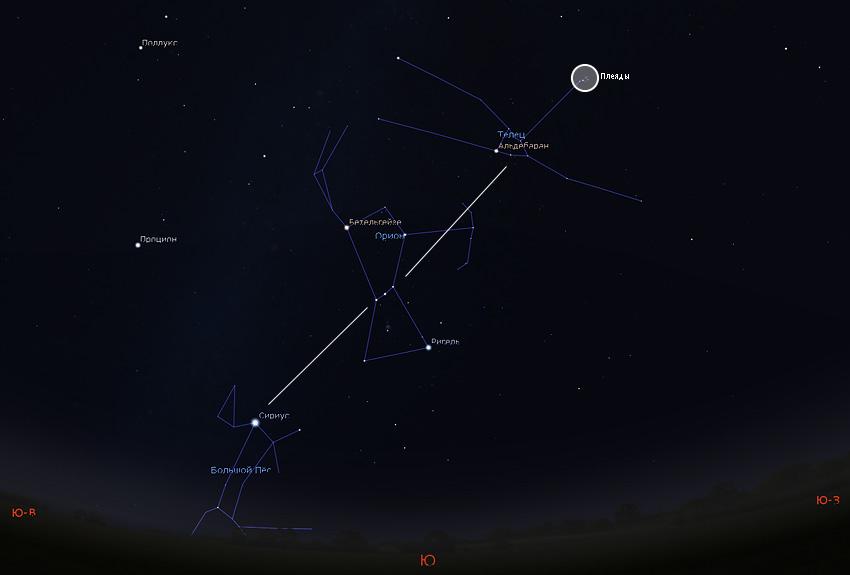 пояс Ориона и Сириус