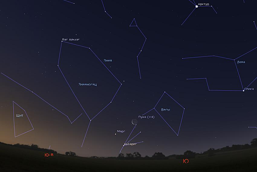 Марс, Антарес, Луна на небе
