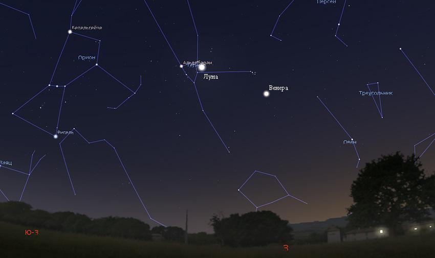 Луна и Венера на небе в марте