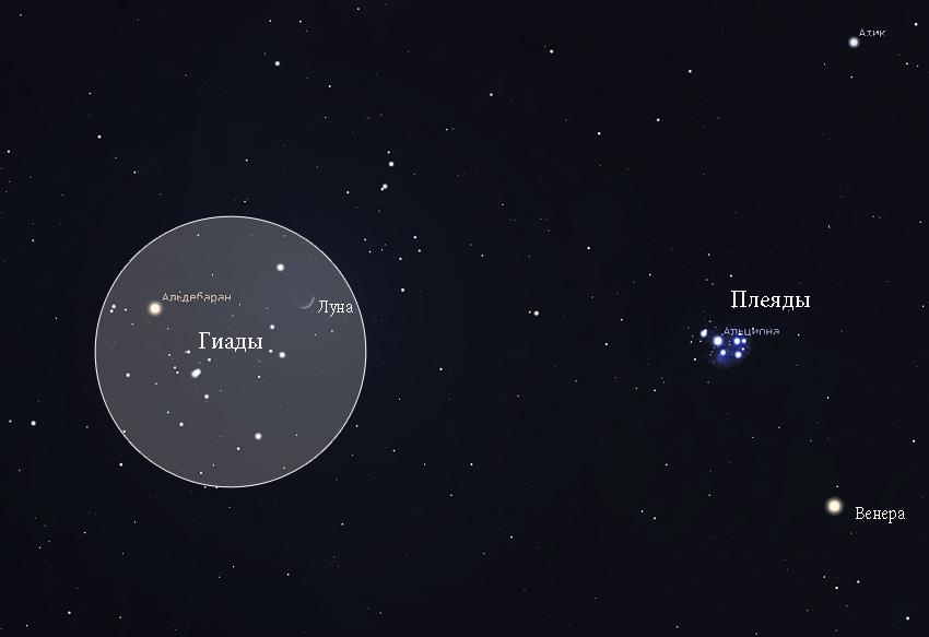 Луна в Гиадах 29 марта 2020 года