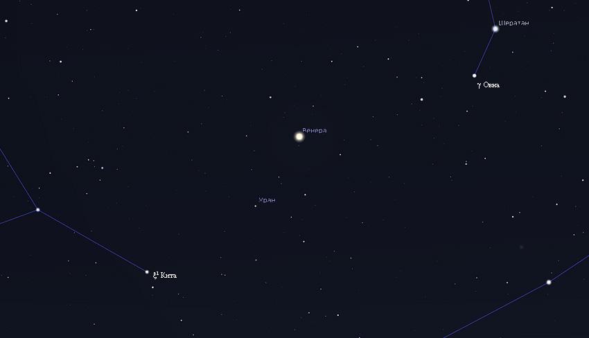 Венера и Уран 9 марта 2020