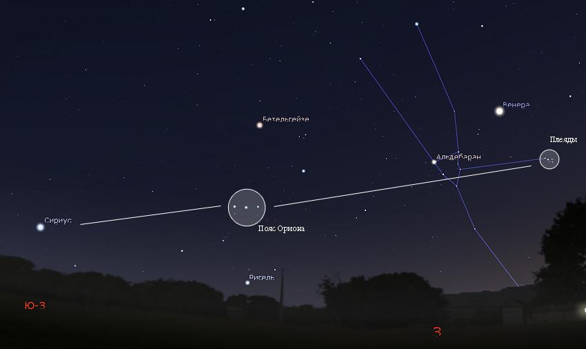 Орион Сириус и Плеяды на небе
