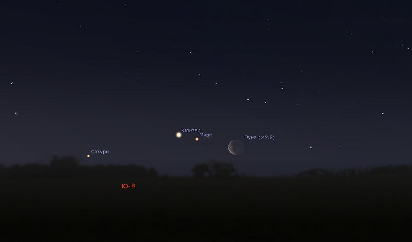 Луна и Юпитер 18 марта 2020