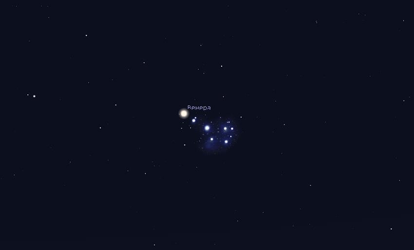 Венера и Плеяды 4 апреля 2020 года