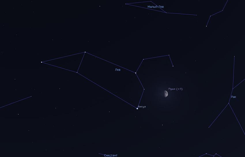 Луна и Регул на небе 2020 году