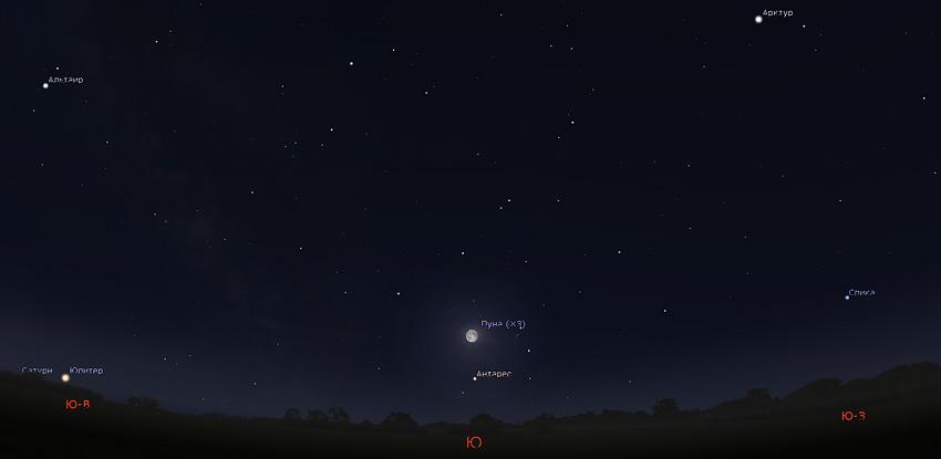 Луна и Антарес утром 9 мая 2020 года