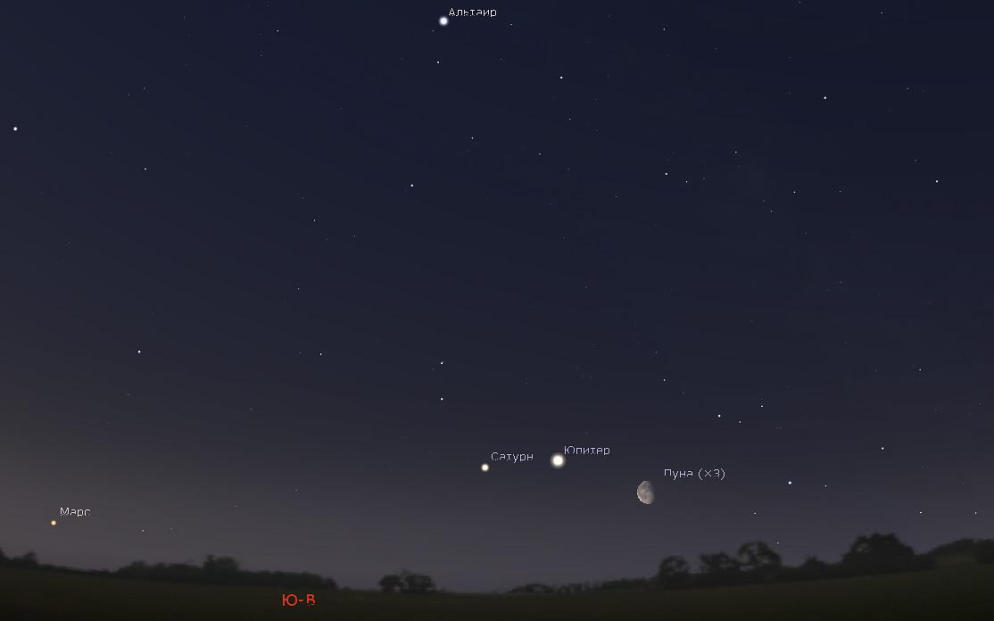 Луна и Юпитер утром 12 мая 2020 года