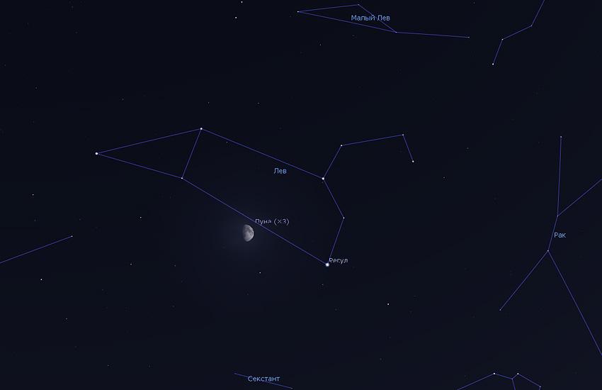 Луна в созвездии Льва в мае 2020