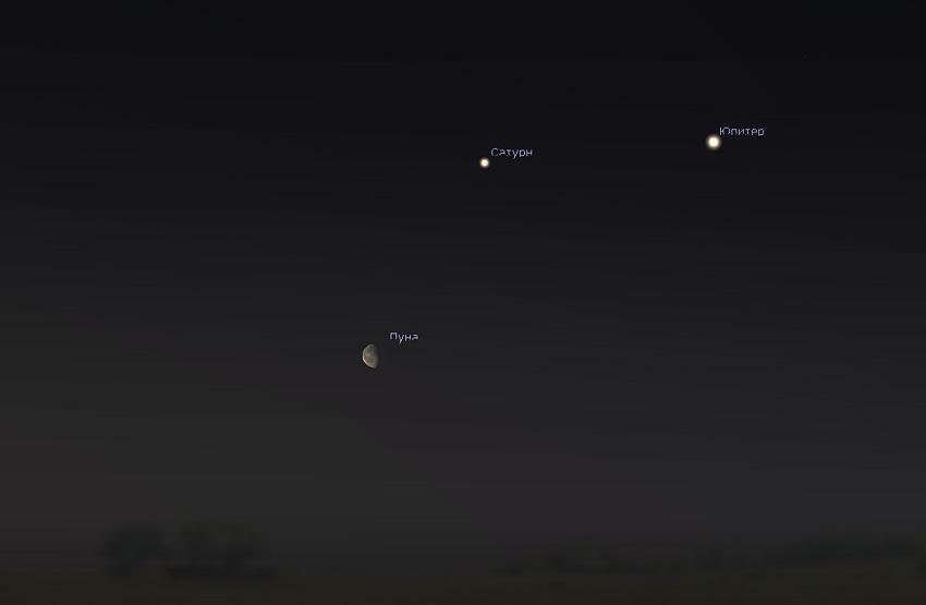 Луна и Сатурн в мае 2020 года