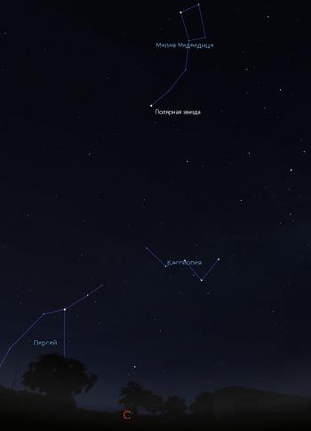 созвездие Кассиопеи на небе в мае