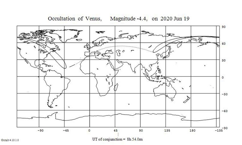 карта покрытия Венеры 19 июня 2020 года