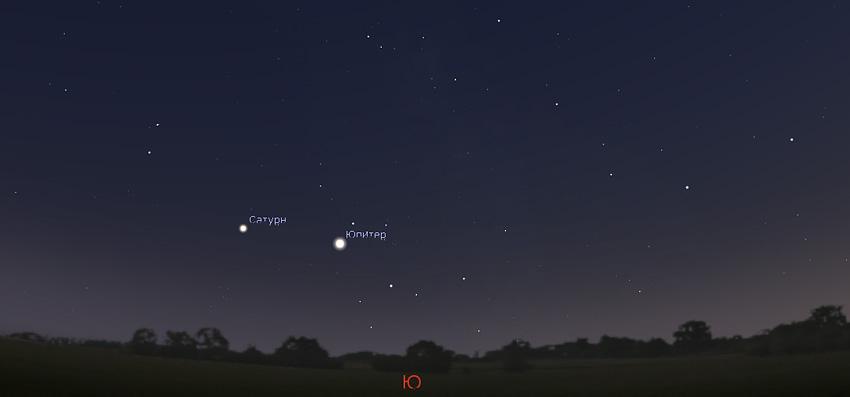 Юпитер и Сатурн на небе в сентябре 2020 года