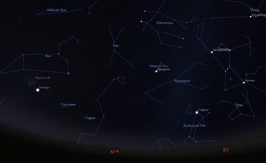 Луна и Венера утром 14 октября 2020 года