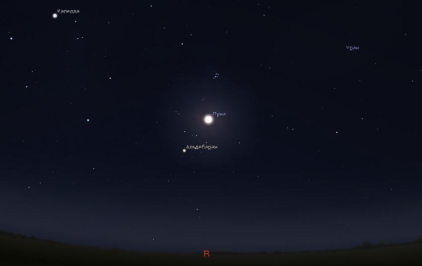 Луна и Плеяды 2 ноября
