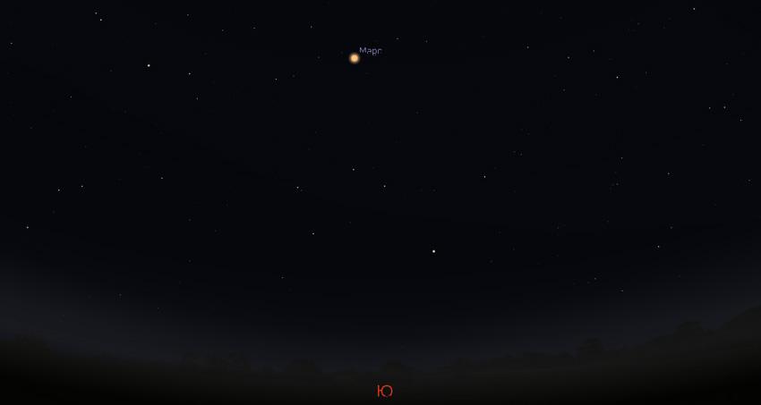 Марс на небе ночью