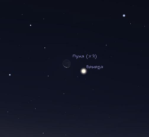 Луна и Венера в октябре 2020