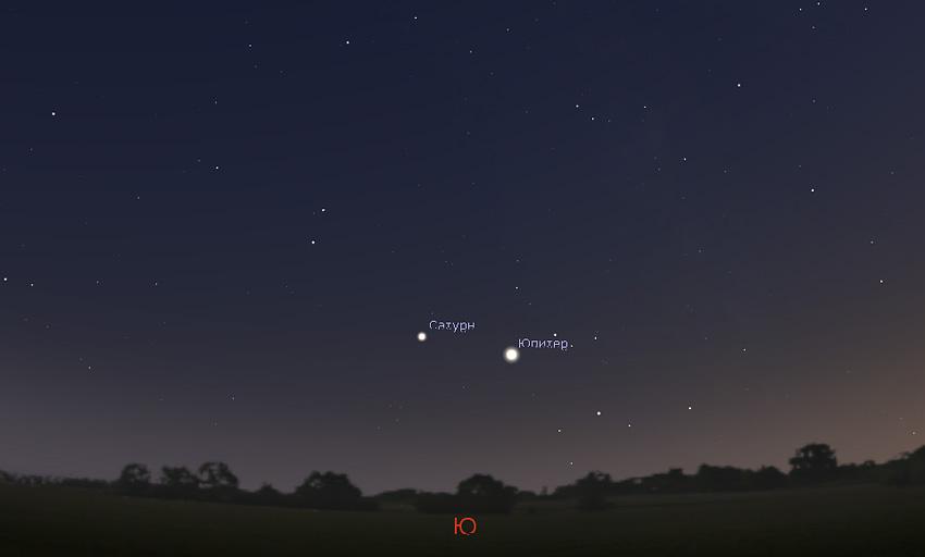 Юпитер на небе в октябре 2020 года