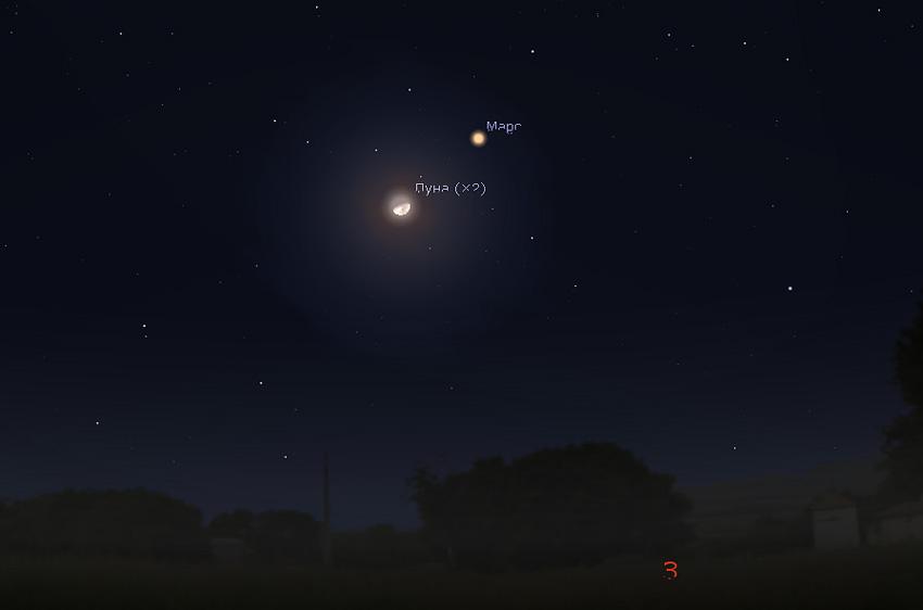 Луна и Марс на небе в декабре 2020 года