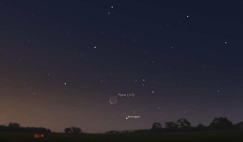 Луна и Антарес на небе 10 января 2021 года