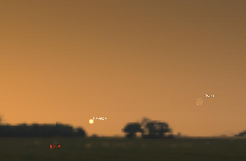 Луна и Венера на небе 11 января 2021 года