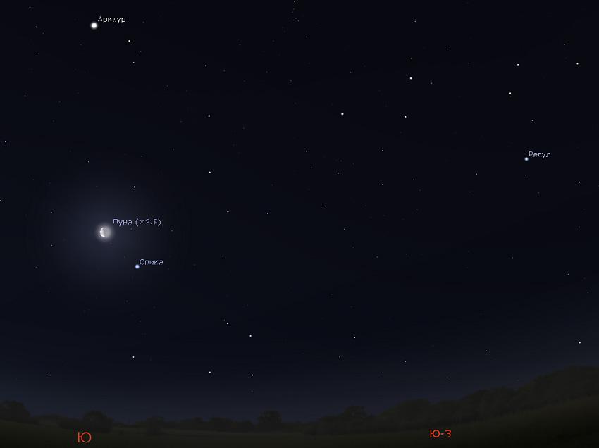 Луна, Спика и Арктур 7 января