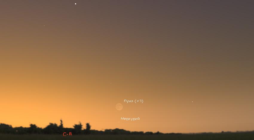Луна и Меркурий утром 8 июля 2021 года